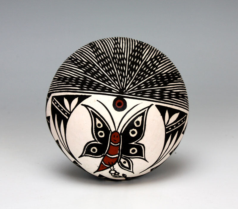 Acoma Pueblo Native American Indian Pottery Butterfly Seed Pot - Ruth Estevan
