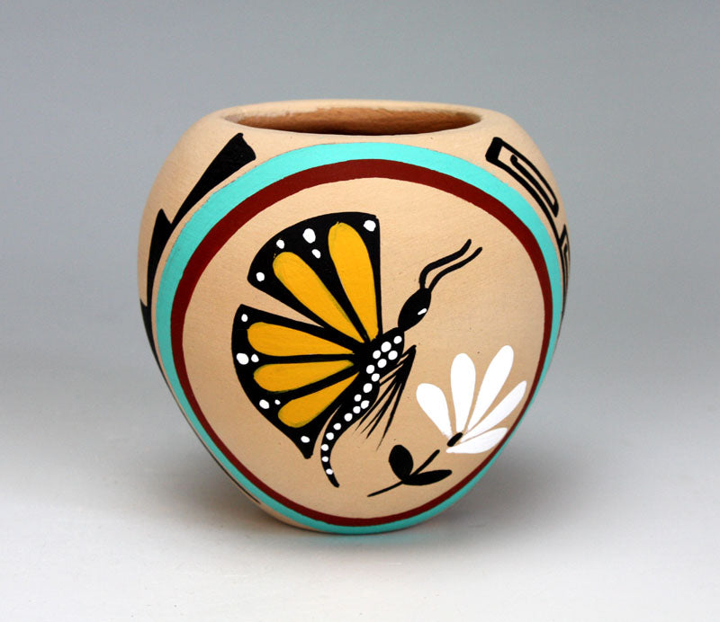 Jemez Pueblo American Indian Pottery Butterfly Jar #1 - Marie Chinana