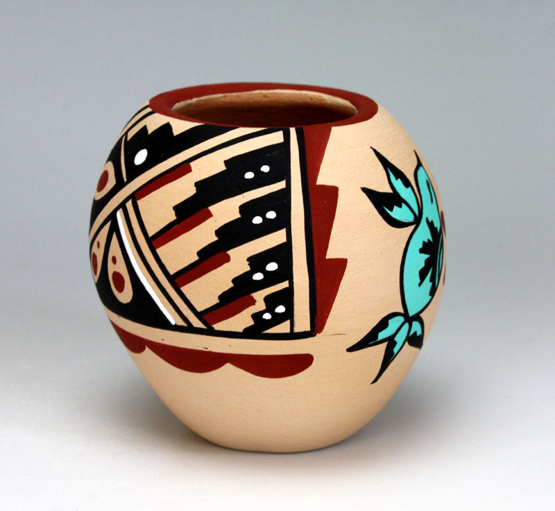 Jemez Pueblo American Indian Pottery Hummingbird Jar #1 - Marie Chinana
