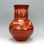 Santa Clara Pueblo Indian Pottery Carved Large Avanyu Jar - Kimberly Garcia