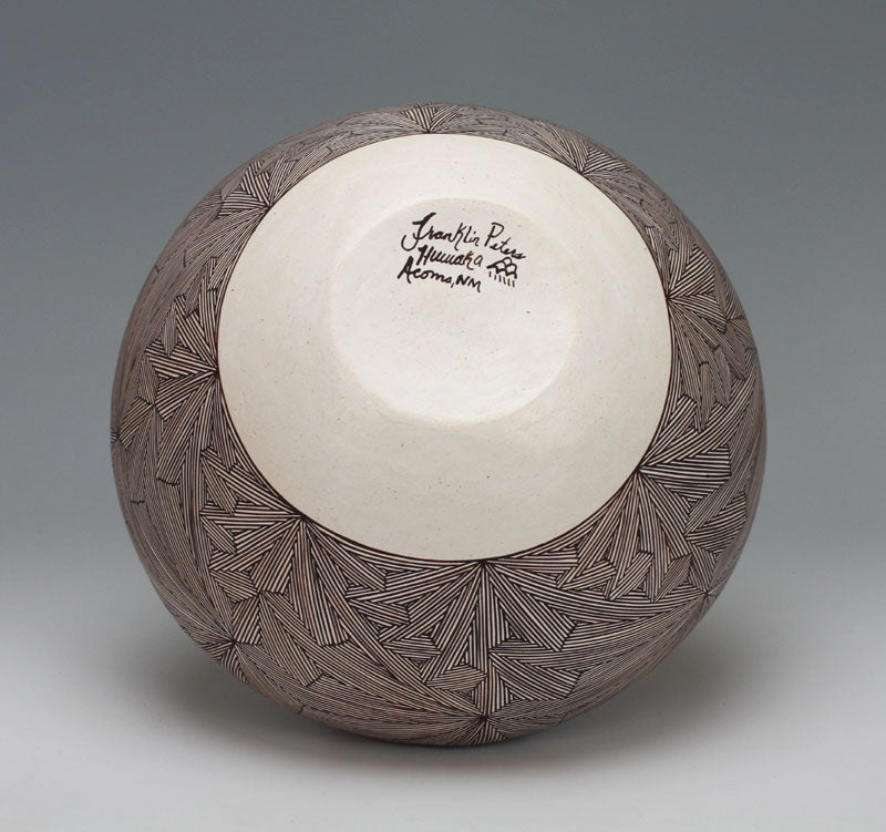 Acoma Pueblo Native American Indian Pottery Fine Line Bowl - Franklin Peters