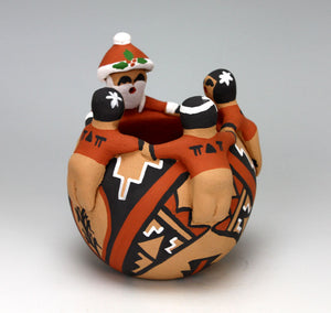 Jemez Pueblo Native American Pottery Santa Friendship Bowl #2 - Vernida Toya