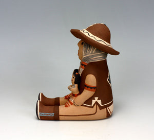 Jemez Pueblo American Indian Pottery Grandfather Storyteller #4 - Leonard Tsosie