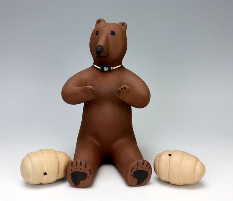 Jemez Pueblo American Indian Pottery Brown Bear  - Marcus Wall