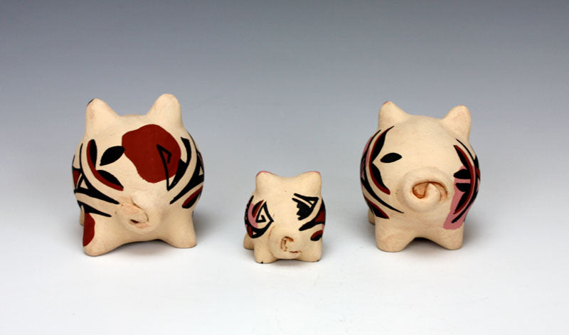 Jemez Pueblo American Indian Pottery Pig Family #2 - Marie Chinana