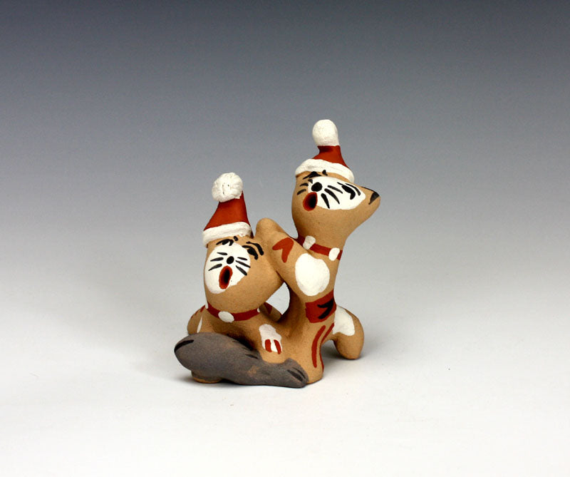 Jemez Pueblo American Indian Pottery Christmas Cats #1 - Bonnie Fragua