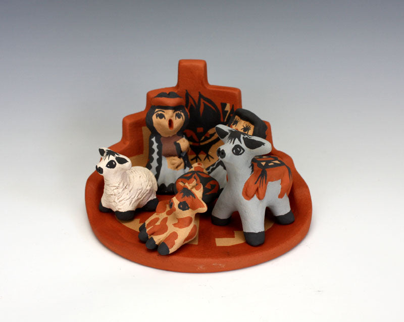 Jemez Pueblo American Indian Pottery 7 pc Nativity Set - Caroline Sando