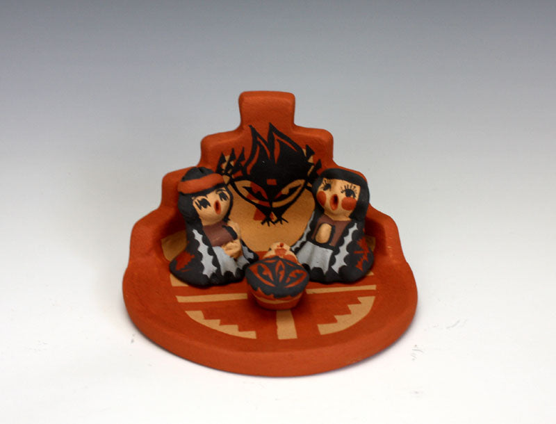 Jemez Pueblo American Indian Pottery 4 pc Nativity Set #2 - Caroline Sando