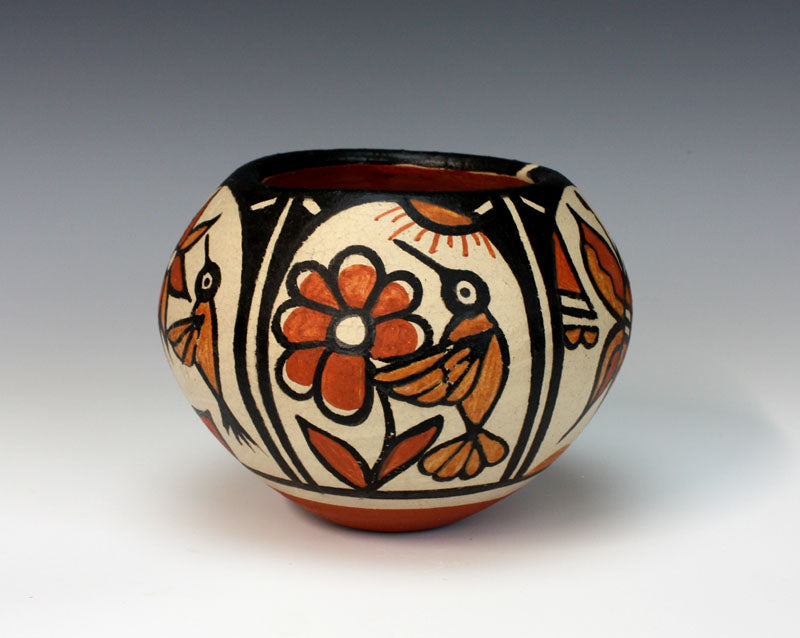 Kewa Pueblo Indian Pottery Hummingbird - Butterfly Bowl - Rose Pacheco
