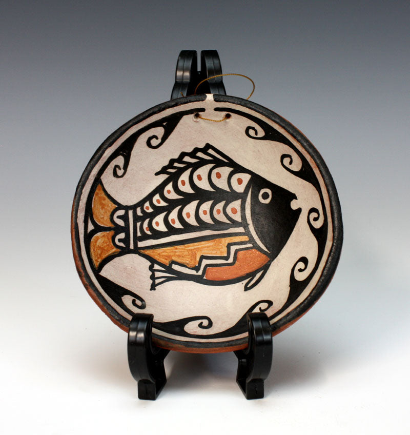 Kewa - Santo Domingo Pueblo American Indian Pottery Fish Plate - Robert Tenorio