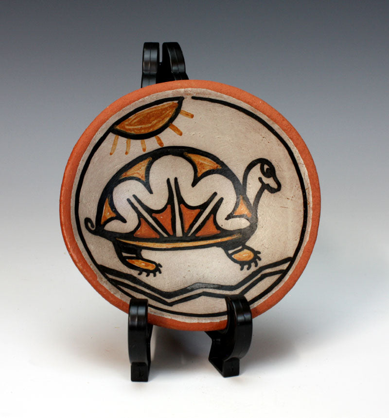 Kewa - Santo Domingo Pueblo American Indian Pottery Turtle Plate - Robert Tenorio