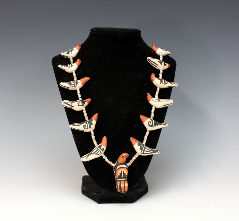 Kewa - Santo Domingo Pueblo American Indian Pottery Bird Necklace #1 - Robert Tenorio