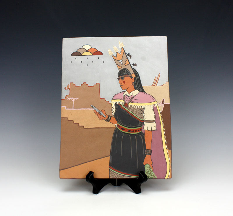 "Santa Clara Pueblo Indian Pottery ""Ray-Ban Maiden"" Tile - Jason Garcia"