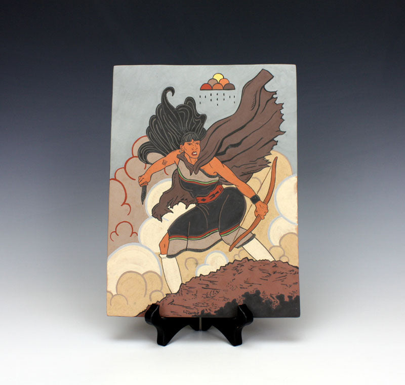 "Santa Clara Pueblo Indian Pottery ""Warrior Maiden"" Tile - Jason Garcia"