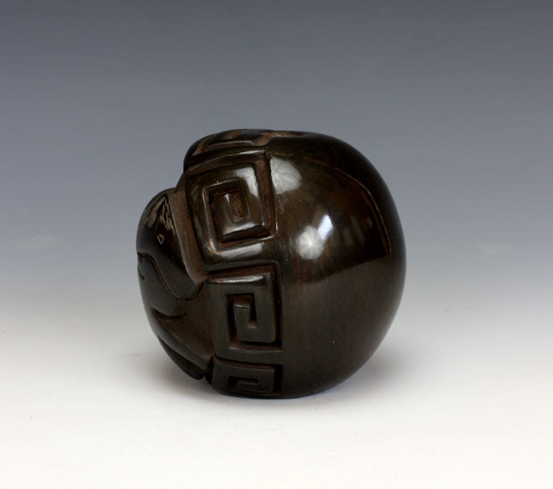 Santa Clara Pueblo Indian Pottery Buffalo Seed Pot - Judy Tafoya