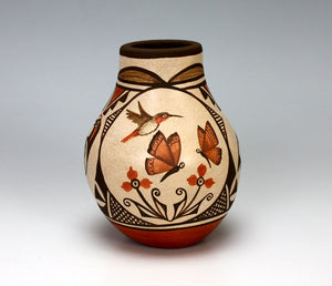 Zia Pueblo Native American Indian Pottery Hummingbird Jar  - Marcellus Medina