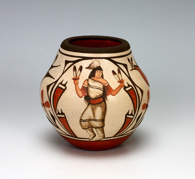 Zia Pueblo Native American Indian Pottery Butterfly Dancer Jar  - Marcellus Medina