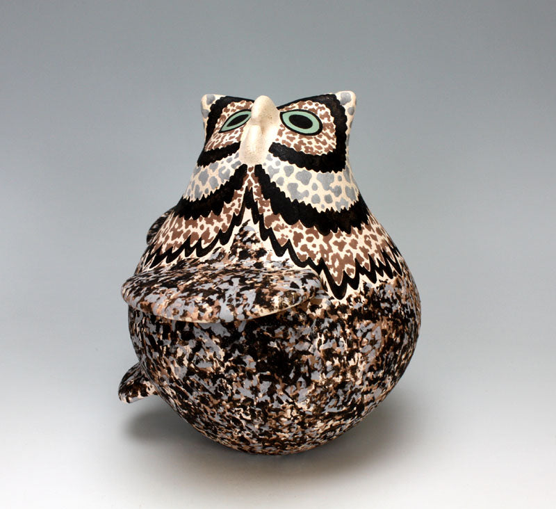 Zuni Pueblo Native American Indian Pottery Owl #14 - Jaycee Nahohai