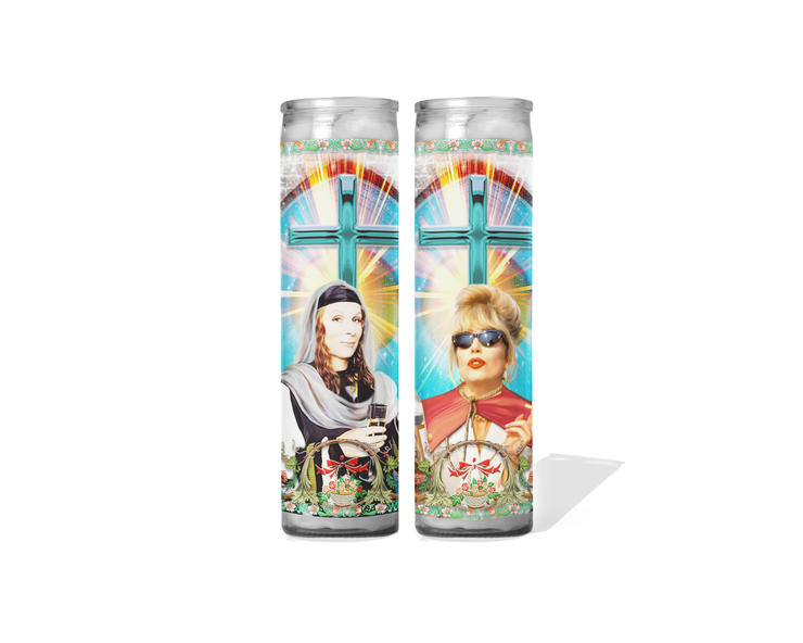 Club Edina and Patsy Celebrity Prayer Candle Set of 2- Absolutely Fabulous