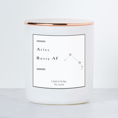 Aries Bossy AF - Luxe Scented Soy Horoscope Candle - Cactus Flower & Jade