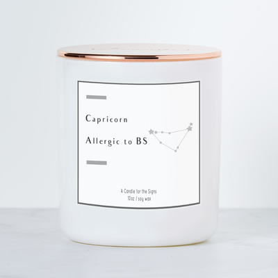 Capricorn - Allergic to BS - Luxe Scented Soy Candle - White Sage & Lavendar