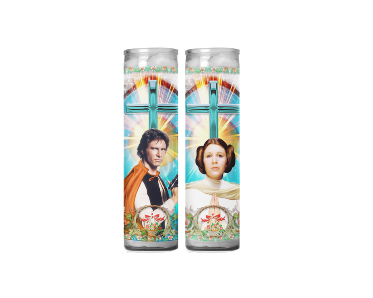 Han Solo and Princess Leia Celebrity Prayer Candle Set - Star Wars