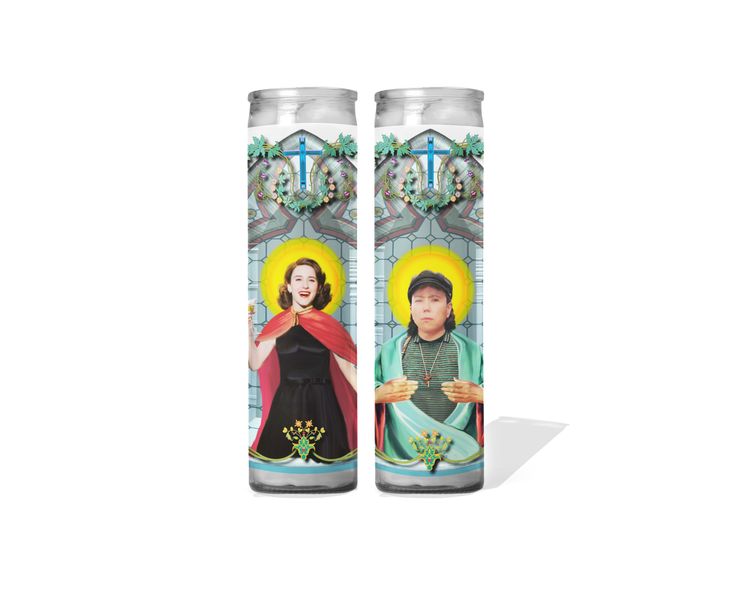 Midge and Susie Celebrity Prayer Candle Set of 2 - The Marvelous Mrs. Maisel
