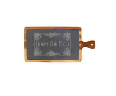 Horny for Food - Small Acacia Wood/Slate with Handle
