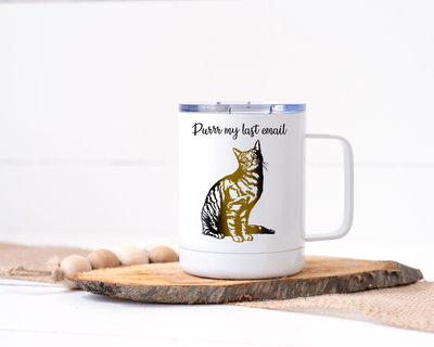Purrr My Last Email - Cat Stainless Steel Travel Mug