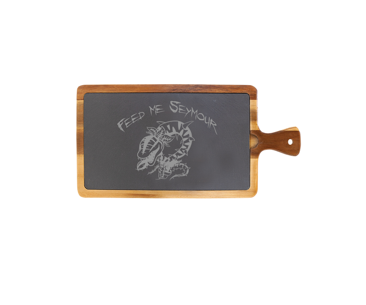 Feed Me Seymour - Large Acacia Wood/Slate Server with Handle - Little Shop of Horrors