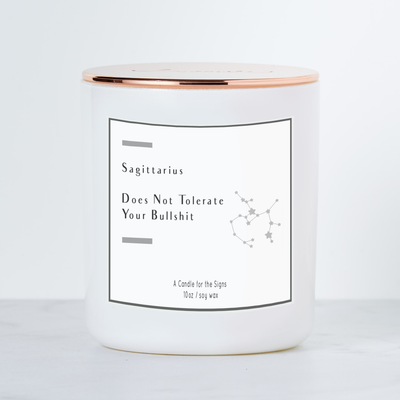 Sagittarius - Does Not Tolerate BS - Luxe Scented Soy Candle - Sea Salt & Orchid