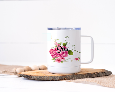 Slut Stainless Steel Travel Mug - Floral Delicate and Fancy