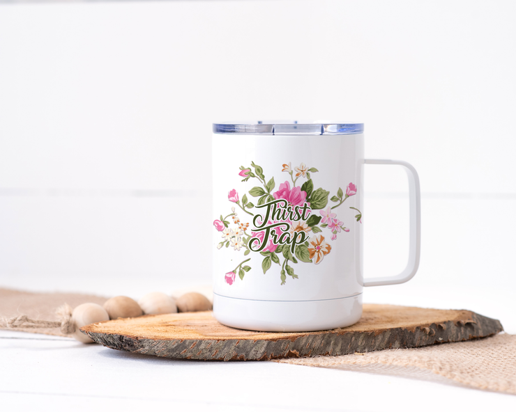 Thirst Trap Stainless Steel Travel Mug - Floral Delicate and Fancy