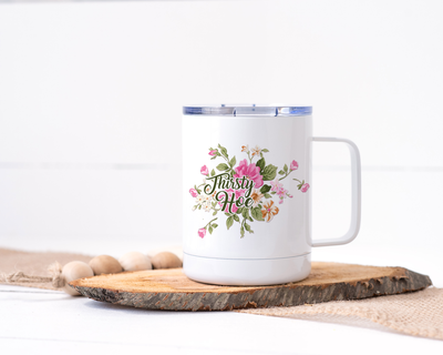 Thirsty Hoe Stainless Steel Travel Mug - Floral Delicate and Fancy