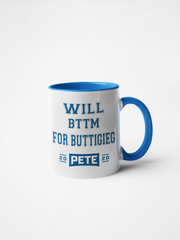 Will Bttm For Buttigieg Mug - Pete 2020