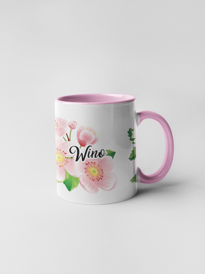 Wino Coffee Mug - Floral Delicate and Fancy
