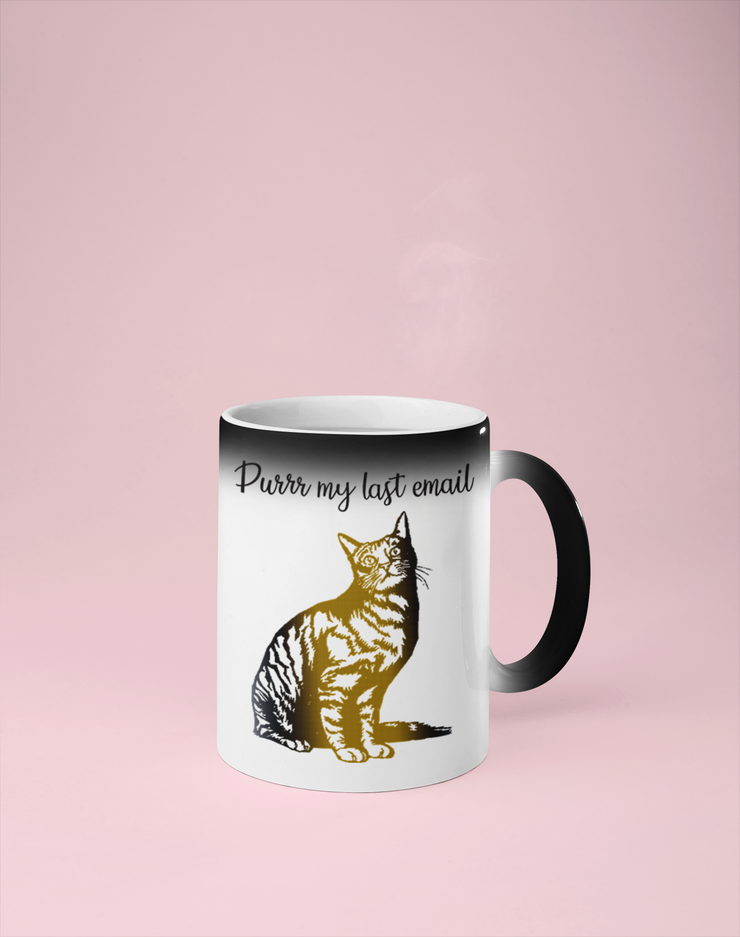 Purrr My Last Email -  Cat Color Changing Mug - Reveals Secret Message w/ Hot Water
