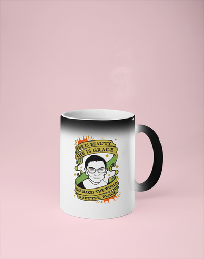 She is Beauty She is Grace, She Makes the World a Better Place - RBG Color Changing Mug - Reveals Secret Message w/ Hot Water