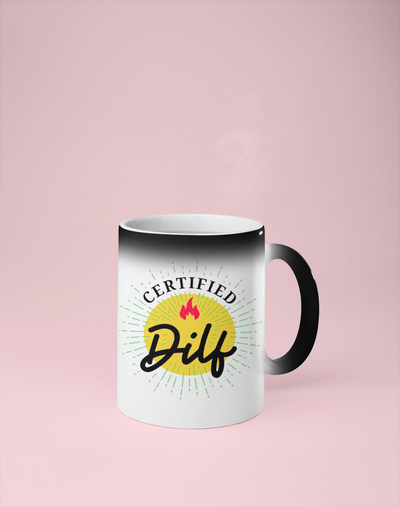 Certified Dilf Color Changing Mug - Reveals Secret Message w/ Hot Water