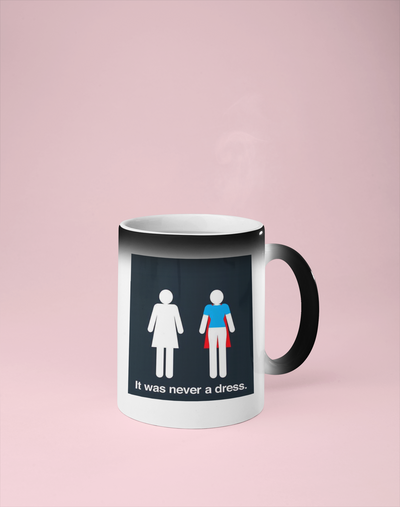 It Was Never a Dress - Feminist Color Changing Mug - Reveals Secret Message w/ Hot Water