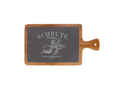 Schrute Farms - The Office Small Acacia Wood/Slate Server with Handle