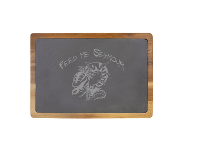 Feed Me Seymour -  13 X 9 Acacia Wood/Slate Serving Board - Little Shop of Horrors