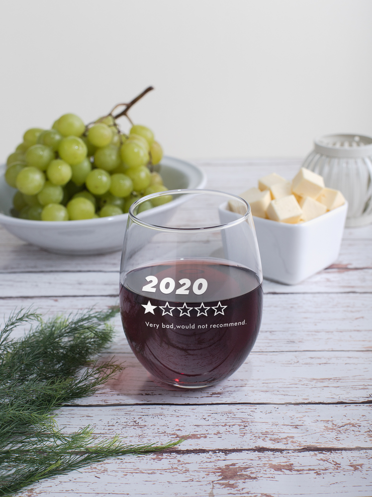 2020, Very Bad, Would Not Recommend - 17oz. Stemless Wine Glass