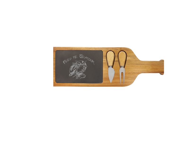 Feed Me Seymour - Acacia Wood/Slate Server with Tools - Little Shop of Horrors