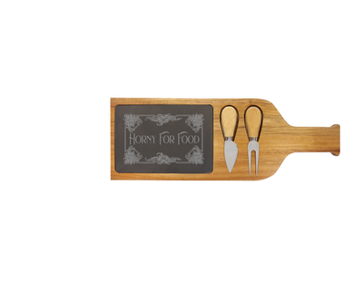 Horny For Food - Acacia Wood/Slate Server with Tools