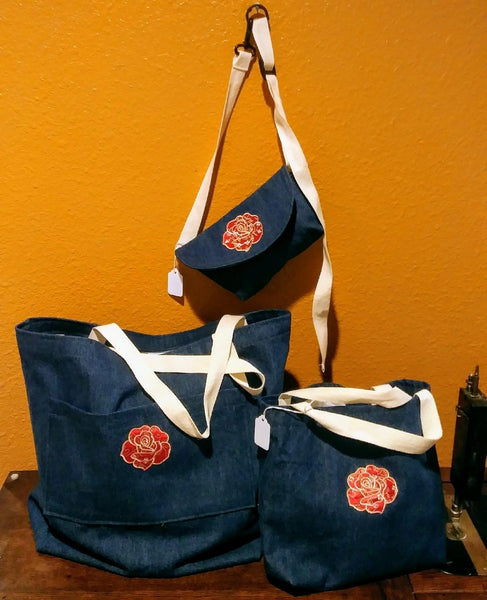 Denim Shopping Bags with Red Flower Applique
