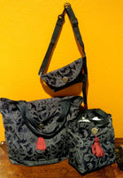 Navy Damask Shopping Bags