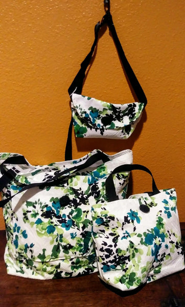 Green Floral Shopping Bags
