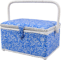 SINGER 07228 Sewing Basket with Sewing Kit, Needles, Thread, Pins, Scissors, and Notions, Deliah Scroll