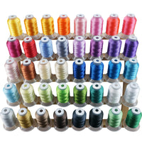 New brothread 40 Brother Colors Polyester Embroidery Machine Thread Kit 500M (550Y) Each Spool for Brother Babylock Janome Singer Pfaff Husqvarna Bernina Embroidery and Sewing Machines